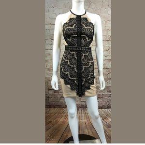 Bebe Dress Size 0 Black Tan Lace Mini Bodycon